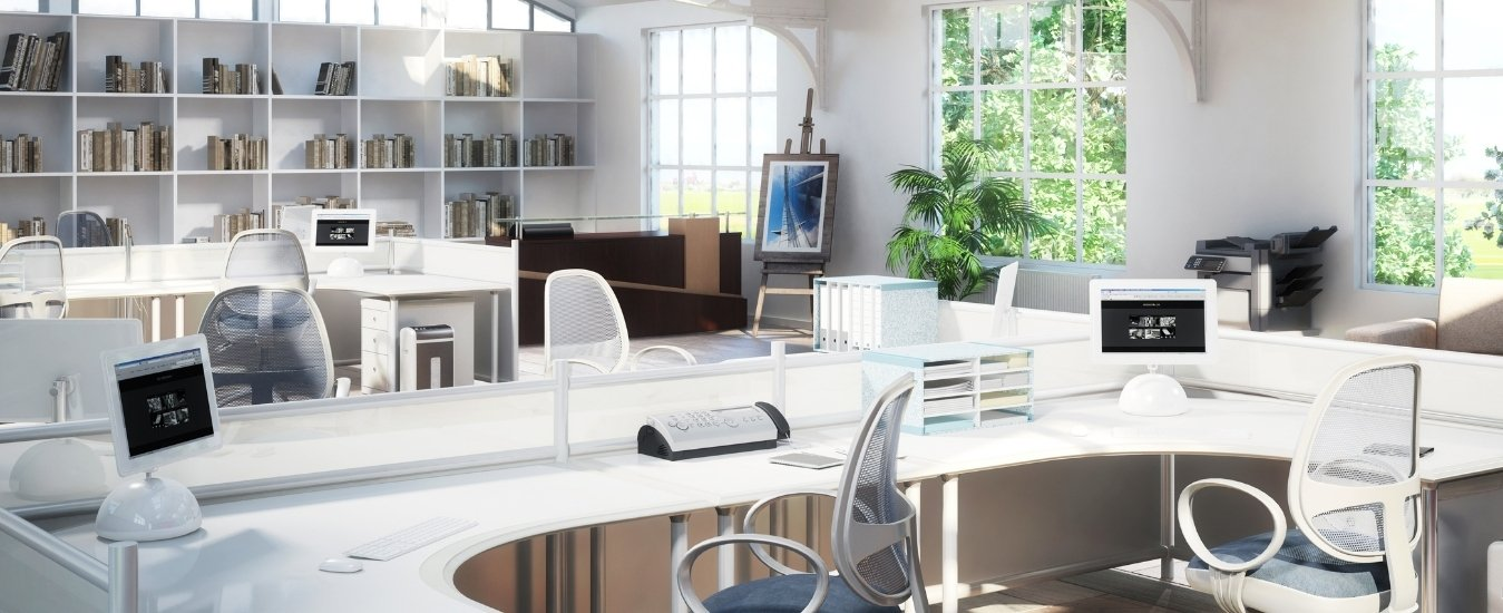 White open office space